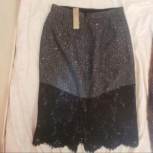 J.Crew Two-Tone Sliver & Black Midi Sparkly Skirt